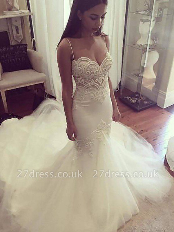Tulle Cheap   Sexy Mermaid Spaghetti Straps Sleeveless Wedding Dresses UK