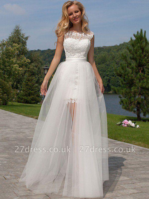 Sheath Scoop Neckline Floor-Length Lace Tulle Cheap Sleeveless Wedding Dresses UK