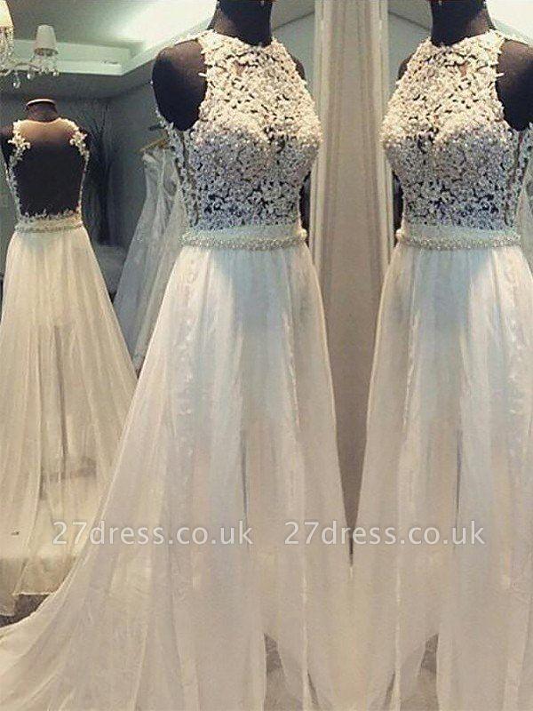 Sweep Train Scoop Neckline Sleeveless  A-Line Wedding Dresses UK
