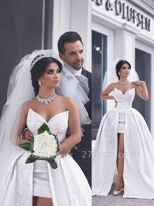 Sweetheart Beads Satin Ball Gown Sleeveless Wedding Dresses UK