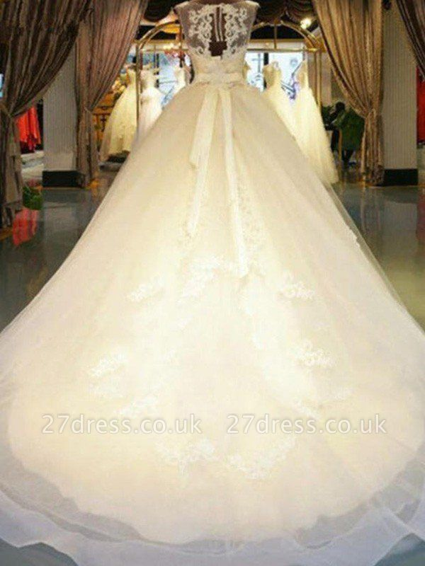 Applique Lace Ball Gown Off-the-Shoulder Sleeveless Ribbon Beads Sweep Train Wedding Dresses UK