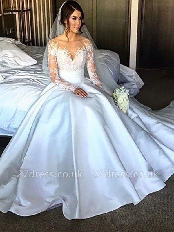 Court Train Ball Gown Satin Long Sleeves Wedding Dresses UK