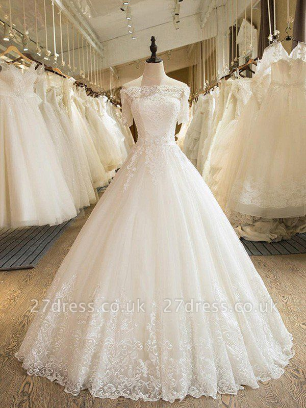 Floor-Length Applique Ball Gown Off-the-Shoulder Lace Tulle 1/2 Sleeves Wedding Dresses UK