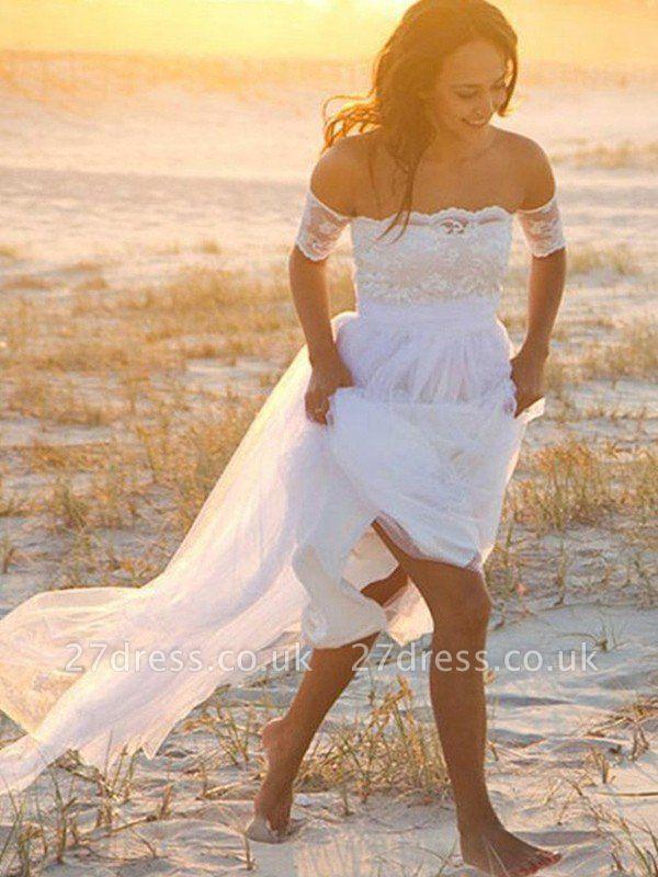 Sleeveless A-Line Floor-Length Off-the-Shoulder Lace  Wedding Dresses UK