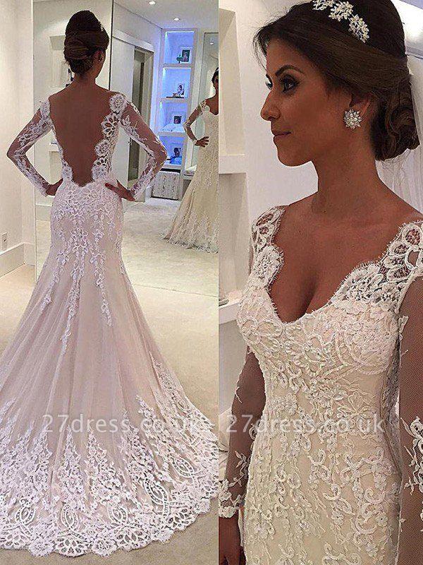 Court Train  Sexy Mermaid V-neck Lace Long Sleeves Wedding Dresses UK