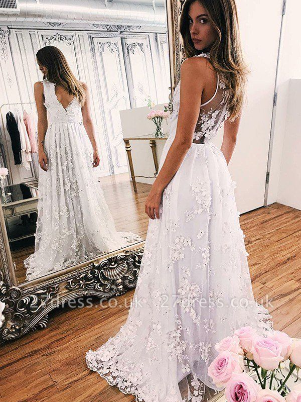 Organza A-Line Applique V-neck Sleeveless Sweep Train Wedding Dresses UK