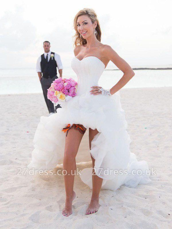 Asymmetrical Organza A-Lines Sleeveless Sweetheart Wedding Dresses UK