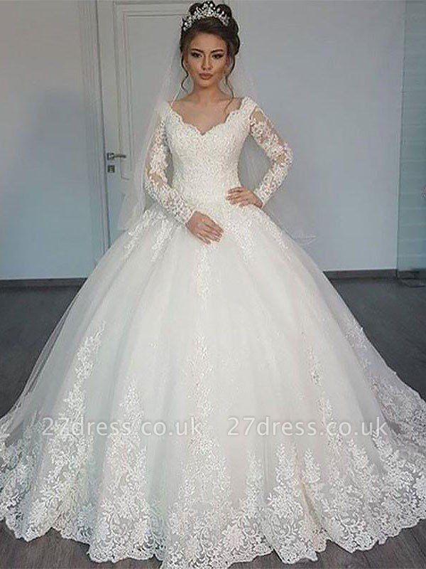 Court Train Tulle Ball Gown  V-Neck Long Sleeves Wedding Dresses UK