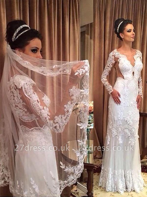 Sweep Train Applique Sheath Tulle Cheap V-neck Long Sleeves Wedding Dresses UK
