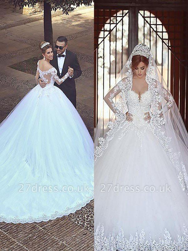 Long Sleeves Court Train Ball Gown Off-the-Shoulder Tulle Wedding Dresses UK