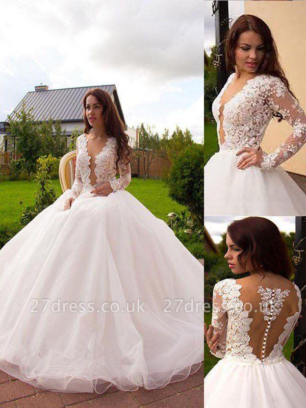 Tulle Cheap Court Train Ball Gown Long Sleeves V-neck Wedding Dresses UK