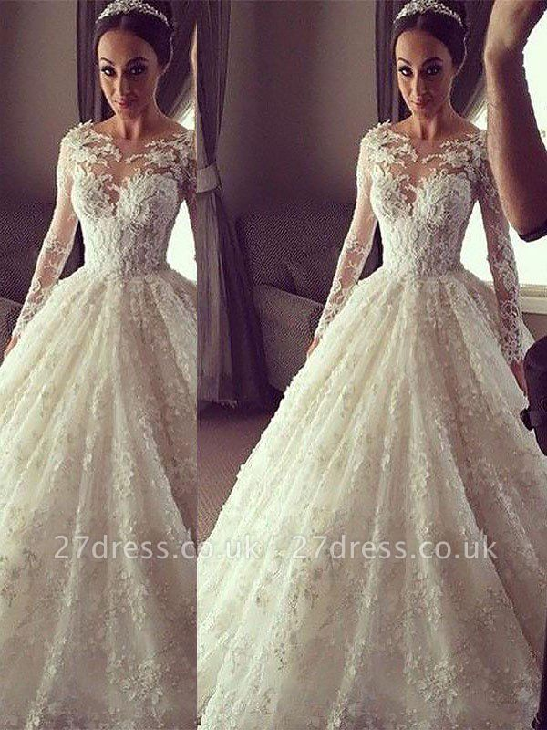 Scoop Neckline Lace Ball Gown Court Train Long Sleeves Wedding Dresses UK