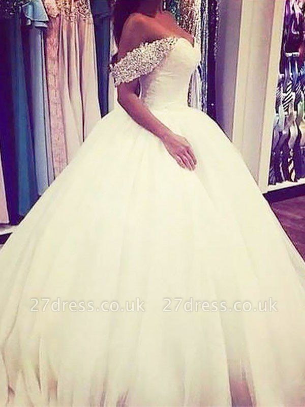 Sweep Train Beads Ball Gown Tulle Sleeveless Off-the-Shoulder Wedding Dresses UK