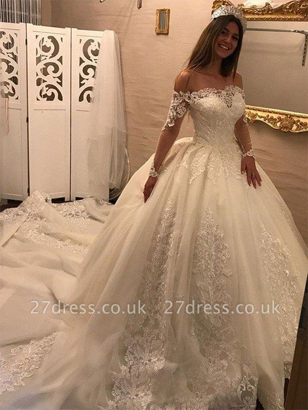 Cathedral Train Ball Gown Long Sleeves Applique Tulle Off-the-Shoulder Wedding Dresses UK