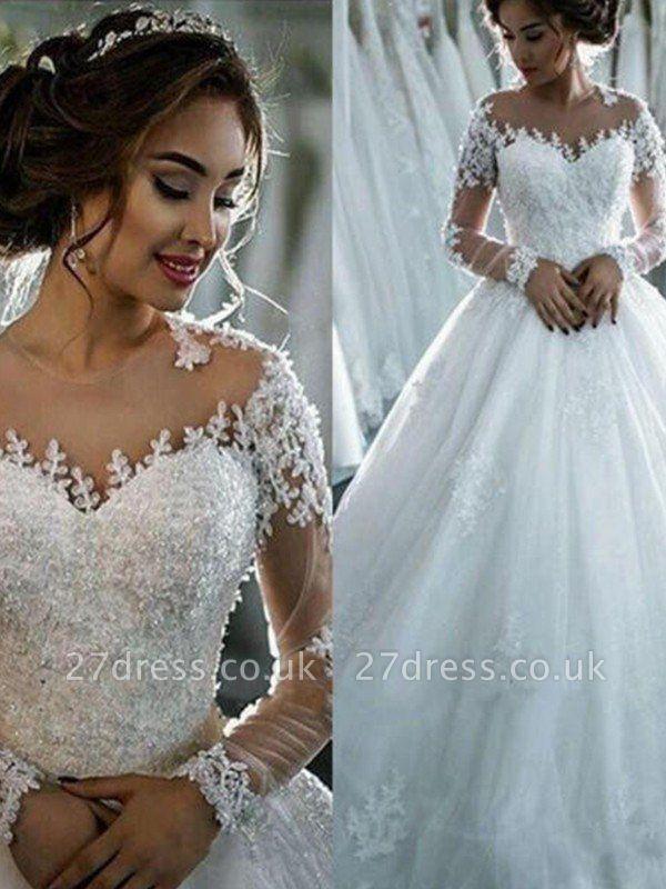Scoop Neckline Applique Long Sleeves Ball Gown  Tulle Wedding Dresses UK