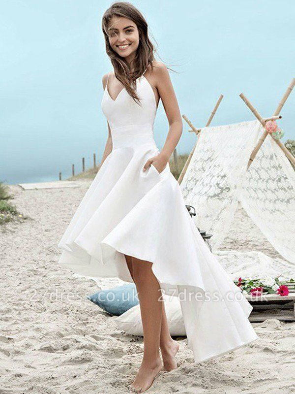 Sleeveless A-Line Asymmetrical Satin Spaghetti Straps Ruched Wedding Dresses UK
