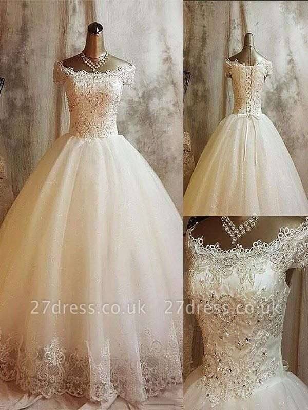 Sweep Train Tulle Ball Gown Applique Sleeveless Off-the-Shoulder Wedding Dresses UK
