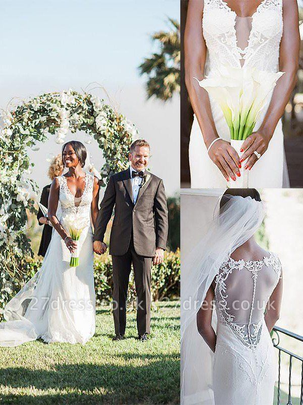 Sleeveless Sweep Train Sheath  V-Neck Tulle Wedding Dresses UK