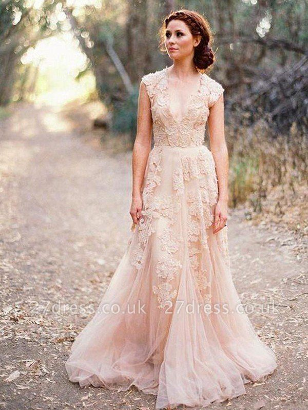 Tulle A-Line Sweep Train Applique Sleeveless  V-Neck Wedding Dresses UK