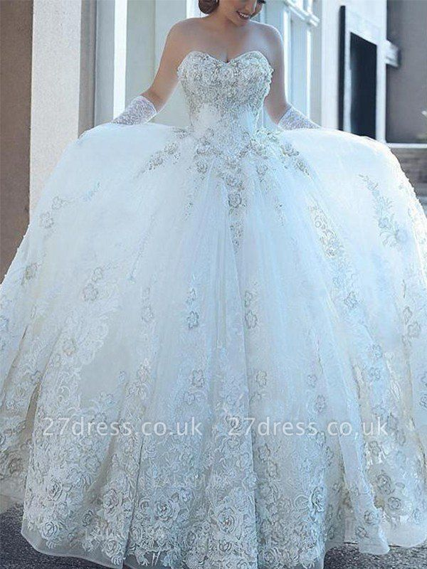 Tulle Cheap Cathedral Train Ball Gown Applique Sweetheart Sleeveless Wedding Dresses UK