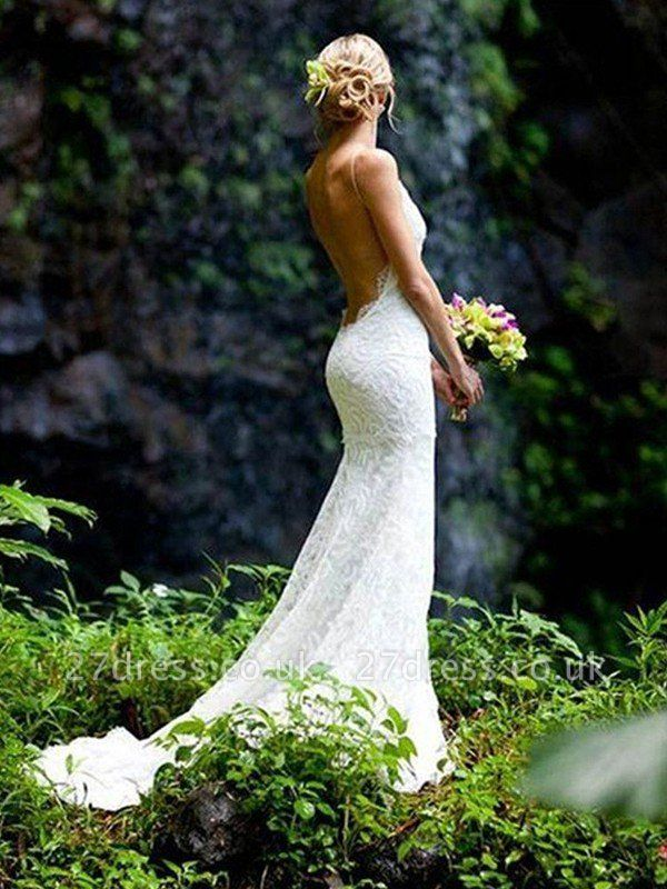 Court Train Sheath Spaghetti Straps Lace Sleeveless V-neck Wedding Dresses UK