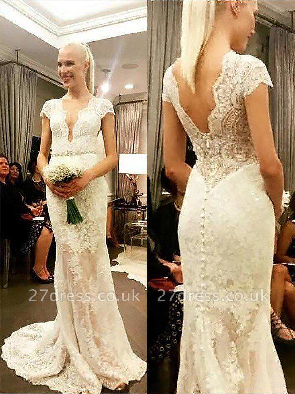 Sheath Lace Sweep Train  V-Neck Short Sleeves Wedding Dresses UK