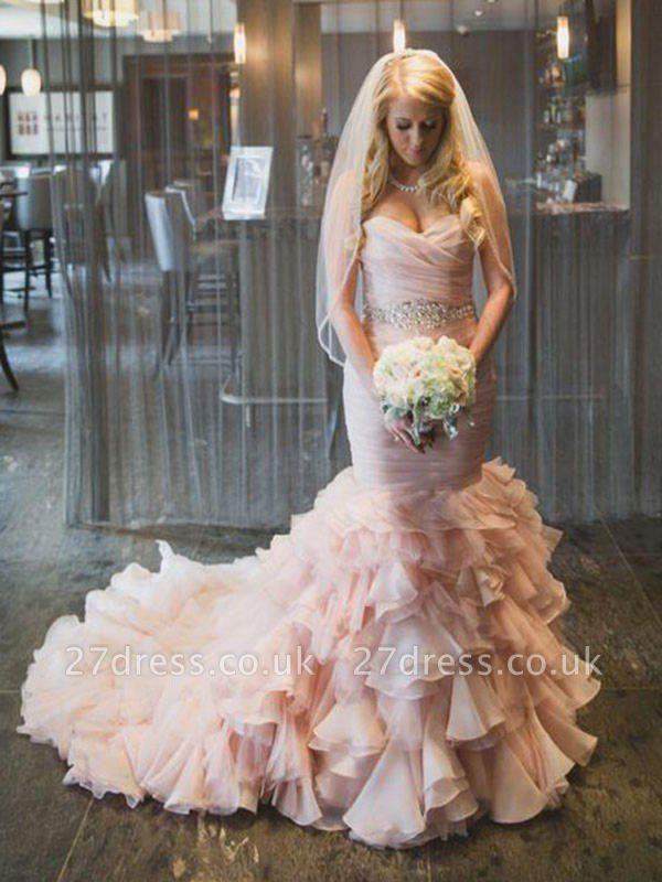 Court Train Organza Sexy Mermaid Sweetheart Sleeveless Ruffles Wedding Dresses UK