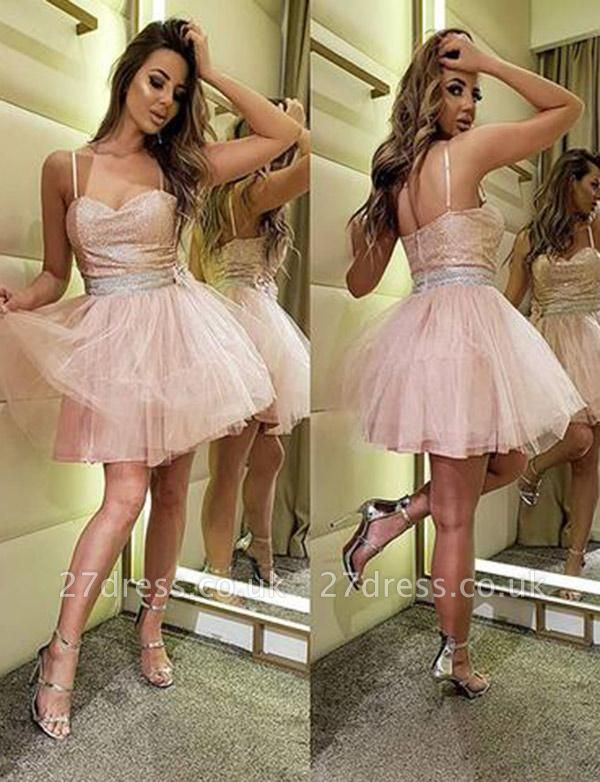 Amazing A-Line Sequins Spaghetti Straps Tulle Short length Prom Dress UK UK