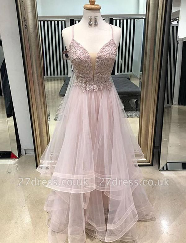 Luxury Long A-Line Appliques Spaghetti Straps Tulle Prom Dress UK UK
