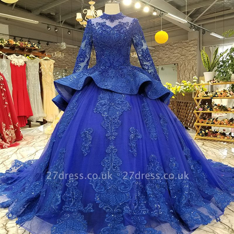 Long Sleeves Ball Gown Applique Tulle Beads Court Train Prom Dress UK UK