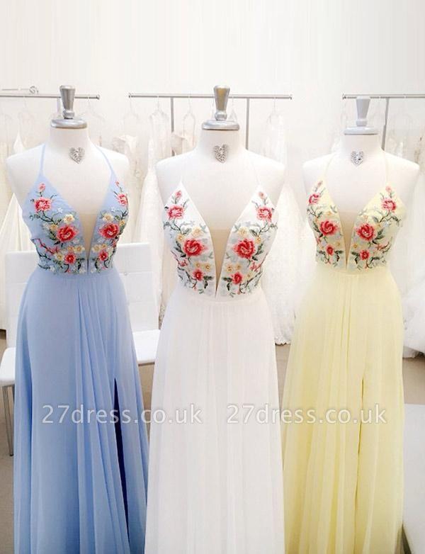Fabulous Lace A-Line Embroidery Spaghetti Straps Long Prom Dress UK UK