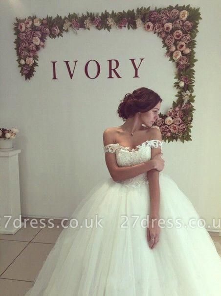 Pretty Off-the-Shoulder Tulle  Ball Gown Wedding Dresses UK