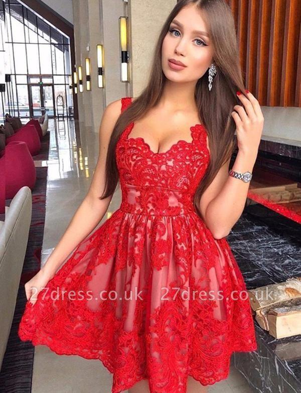 Stunning A-Line Straps Appliques Lace Mini length Prom Dress UK UK