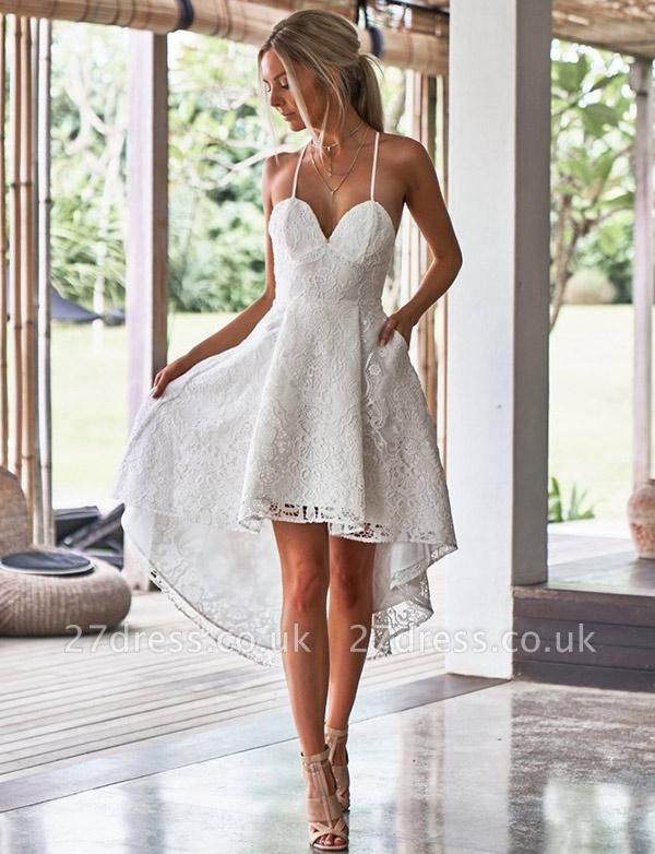 Luxury A-Line Spaghetti Straps Appliques Lace asymmetric Prom Dress UK UK