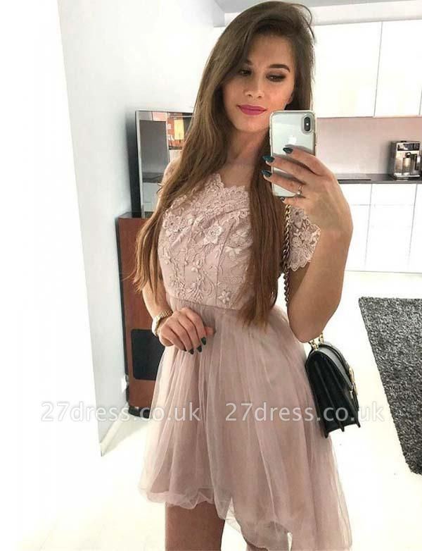 Glamourous Short Sleeves A-Line Appliques Scoop Tulle Mini length Prom Dress UK UK