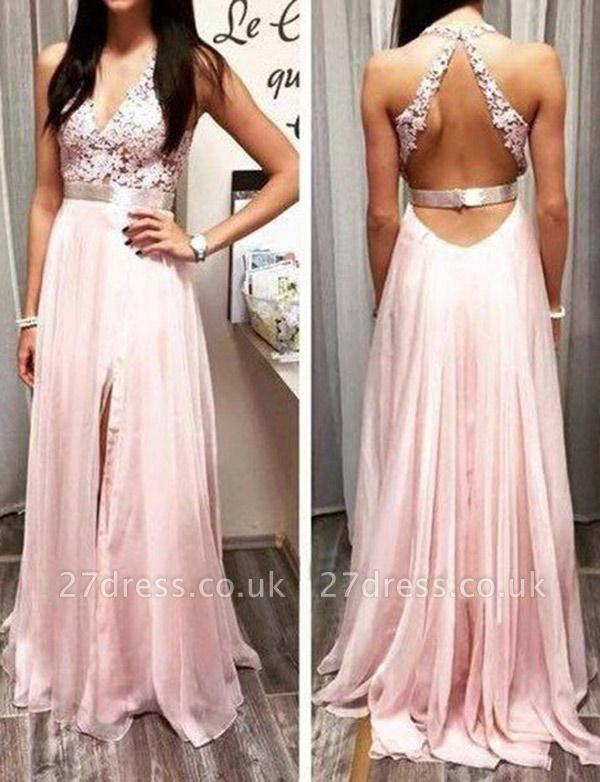 Fabulous Lace Long A-Line Split Front V-Neck Appliques Sleeveless Prom Dress UK UK