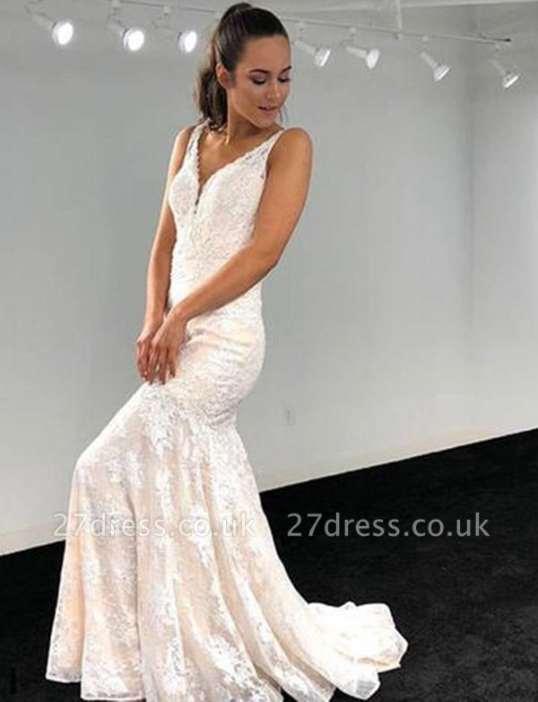 Luxury A-Line V-Neck Lace Applique Sleeveless White Evening Dress UK