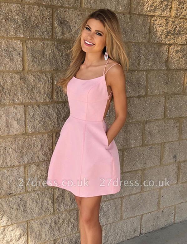 Sexy A-Line Spaghetti Straps Pocket Short length Prom Dress UK UK