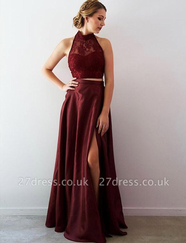 Crop Top Lace A-Line Split Front Long Halter Prom Dress UK UK