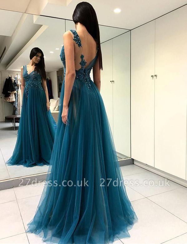 Charming V-Neck Split Front A-Line Appliques Blue Tulle Prom Dress UK UK