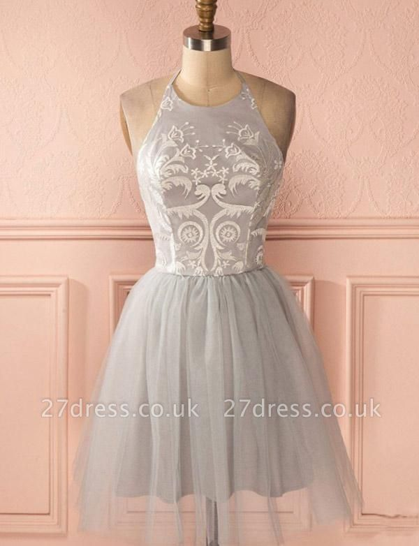 Gorgeous Halter Tulle A-Line Appliques Open Back Homecoming Dress UK