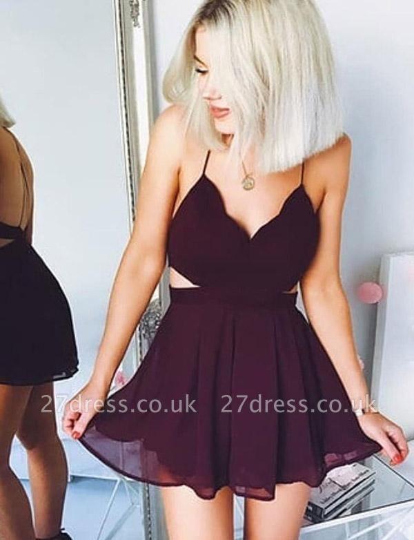 Hot A-Line V-Neck Spaghetti Straps Mini length Homecoming Dress UK