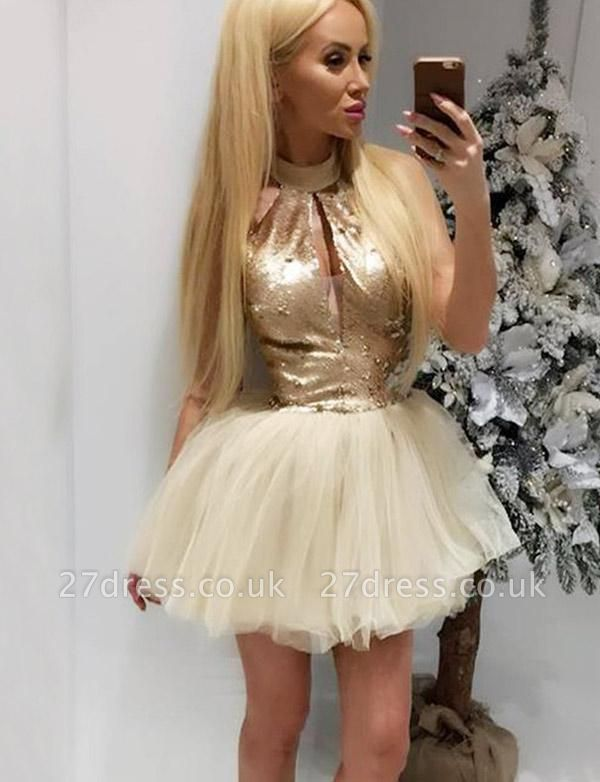 Different High Neck A-Line Sequins Sleeveless Tulle Short Prom Homecoming Dress UK