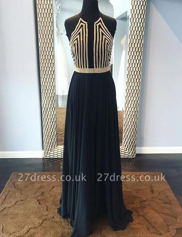 Modern Sequins A-Line Sleeveless Halter Long Prom Dress UK UK