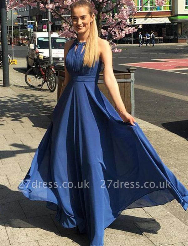 Charming A-Line Jewel Sleeveless Flowy Chiffon Long Prom Dress UK UK