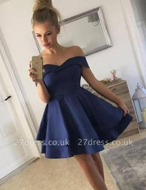 Stunning A-Line Off-the-Shoulder Tiered Short Prom Homecoming Dress UK