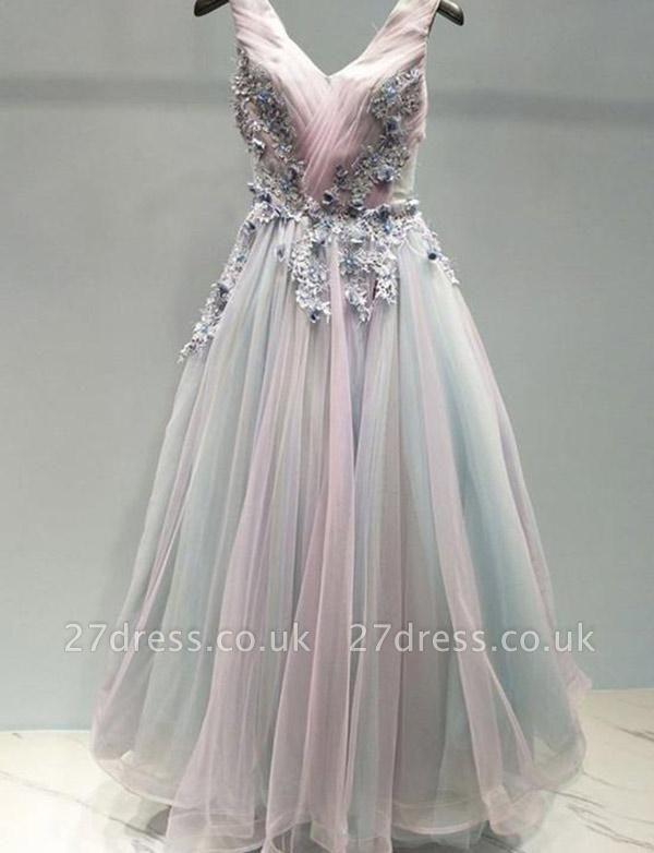 Amazing A-Line Appliques Spaghetti Straps Tulle Long Prom Dress UK UK