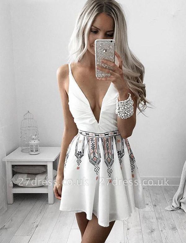 New Arrival Mini length Homecoming A-Line Embroidery V-Neck Sleeveless Prom Dress UK UK