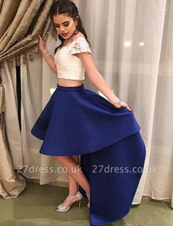 Crop top Cap Sleeves Scoop A-Line Lace Hi-lo Prom Homecoming Dress UK