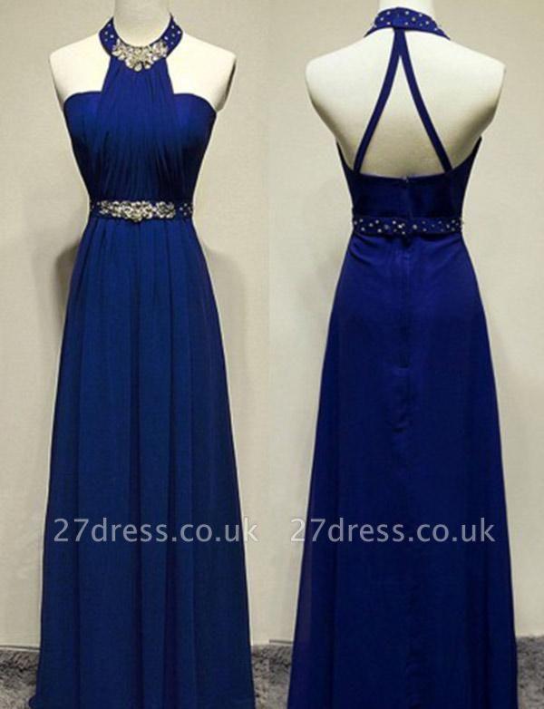 Modern Beading A-Line Sleeveless Long Jewel Prom Dress UK UK
